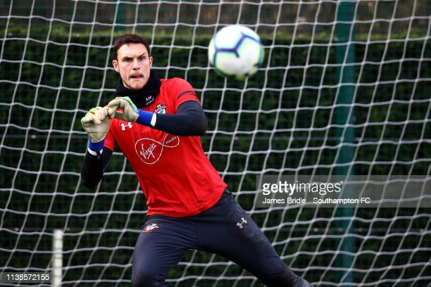 Alex McCarthy during a Southampton FC training session at Staplewood Complex on March 13 2019 in Southampton England