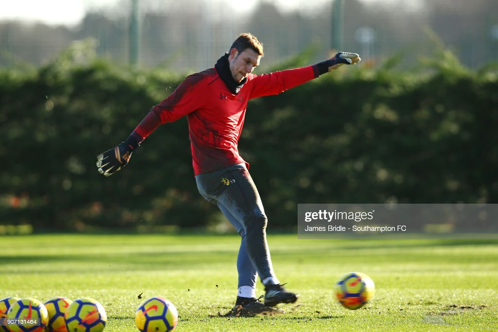Alex McCarthy during a Southampton FC training session at Staplewood Complex on January 19, 2018 in Southampton, England.