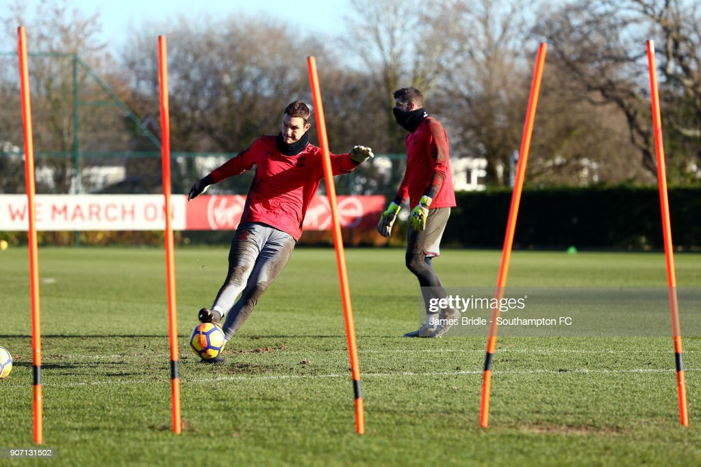 Alex McCarthy (middle) during a Southampton FC training session at Staplewood Complex on January 19, 2018 in Southampton, England.