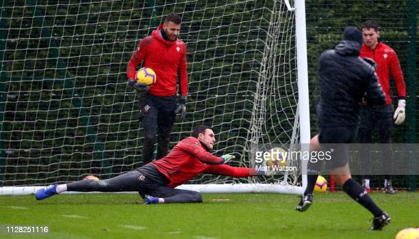 Alex McCarthy during a Southampton FC training session at the Staplewood Campus on February 08 2019 in Southampton England