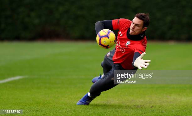 Alex McCarthy during a Southampton FC training session at the Staplewood Campus on February 22 2019 in Southampton England