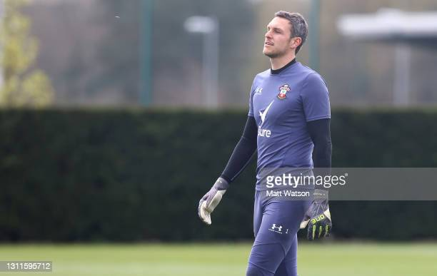 Alex McCarthy during a Southampton FC training session at the Staplewood Campus on April 08, 2021 in Southampton, England.