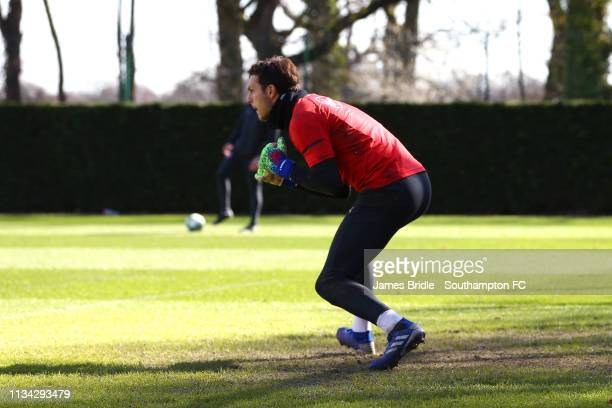 Alex McCarthy during a Southampton FC training session pictured at Staplewood Complex on March 07 2019 in Southampton England