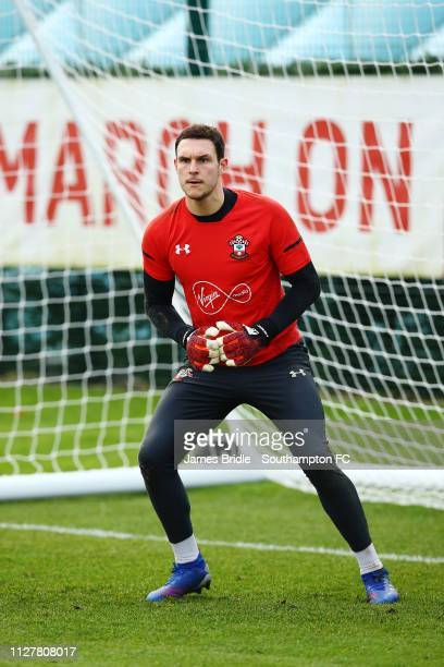 Alex McCarthy makes a save during a Southampton FC training session at Staplewood Complex on February 06 2019 in Southampton England