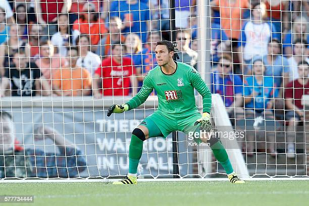 Alex McCarthy of Crystal Palace FC follows the ball during the match against FC Cincinnati at Nippert Stadium on July 16 2016 in Cincinnati Ohio