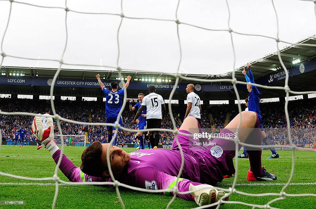 Alex McCarthy of QPR lies dejected after failing to stop a shot from Leonardo Ulloa of Leicester City (23) during the Premier League match between Leicester City and Queens Park Rangers at The King Power Stadium on May 24, 2015 in Leicester, England.