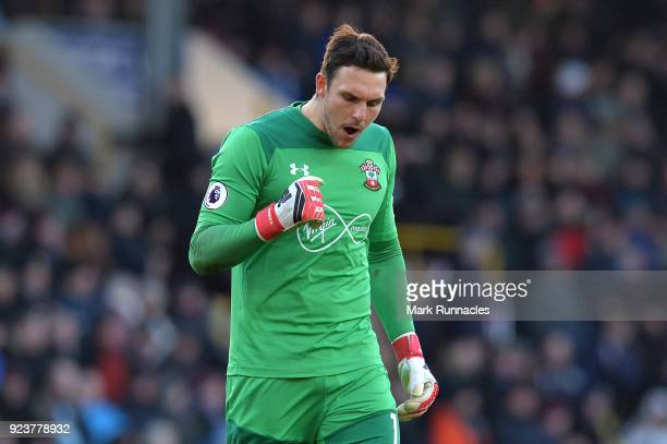Alex McCarthy of Southampton celebrates his side's first goal during the Premier League match between Burnley and Southampton at Turf Moor on...