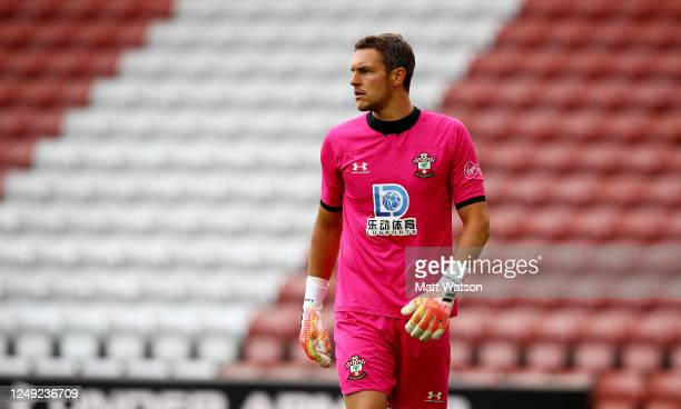 Alex McCarthy of Southampton during a friendly match between Southampton FC and Bristol City ahead of the Premier League restart at St Mary's Stadium...