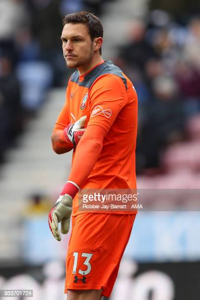 Alex McCarthy of Southampton during The Emirates FA Cup Quarter Final match at DW Stadium on March 18 2018 in Wigan England