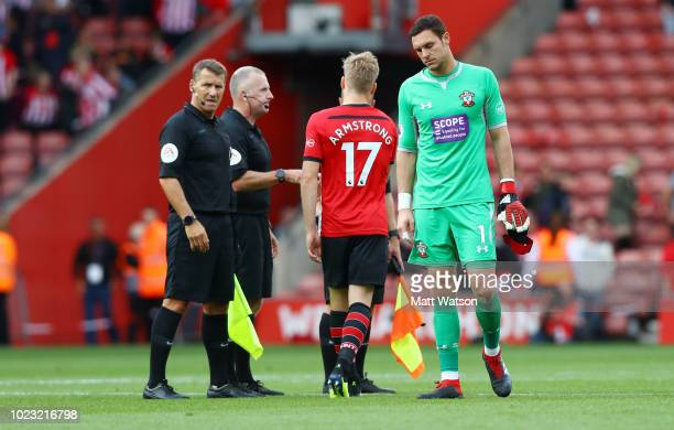 Alex McCarthy of Southampton during the Premier League match between Southampton FC and Leicester City at St Mary's Stadium on August 25 2018 in...