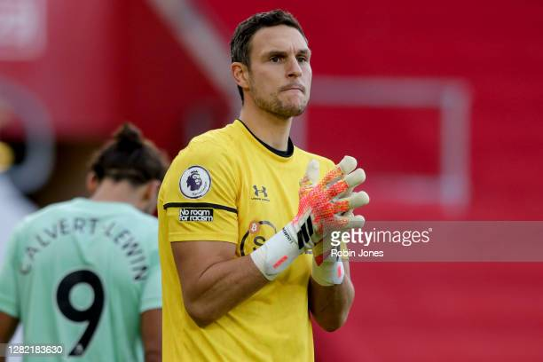 Alex McCarthy of Southampton during the Premier League match between Southampton and Everton at St Mary's Stadium on October 25 2020 in Southampton...