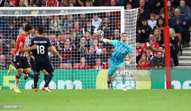 Alex McCarthy of Southampton during the Premier League match between Southampton and Burnley at St Mary's Stadium on October 23, 2021 in Southampton,...