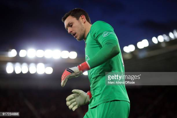 Alex McCarthy of Southampton during the Premier League match between Southampton and Liverpool at St Mary's Stadium on February 11 2018 in...