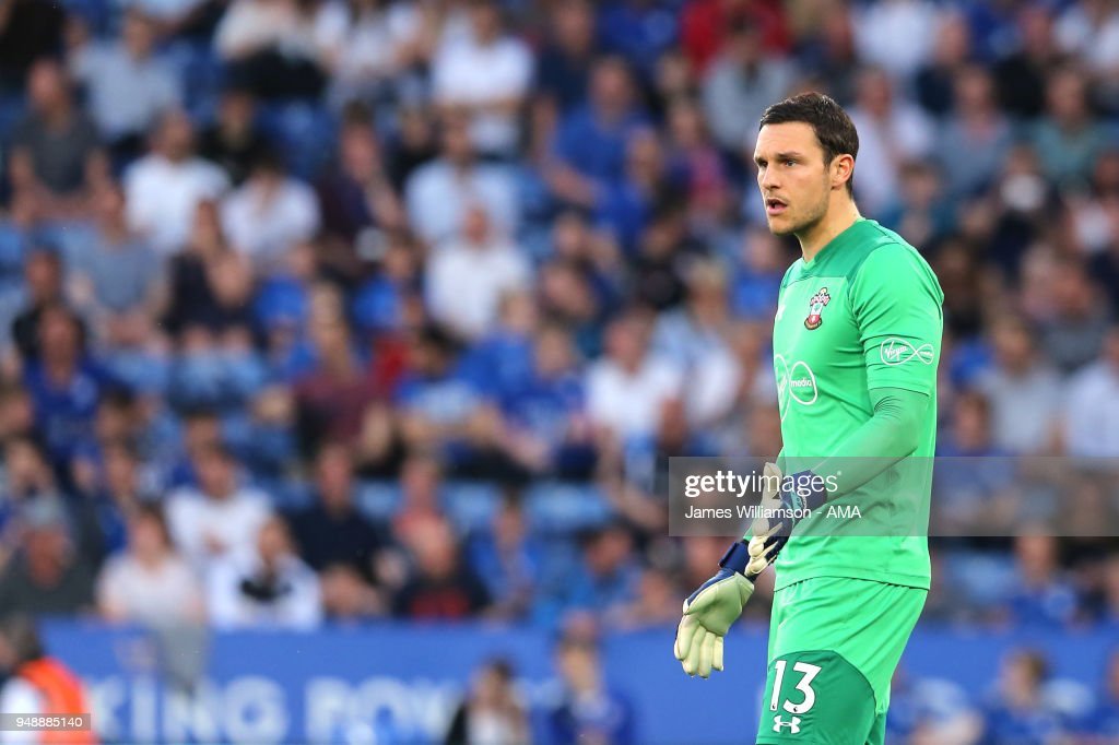 Alex McCarthy of Southampton during the Premier League match between Leicester City and Southampton at The King Power Stadium on April 19, 2018 in Leicester, England.
