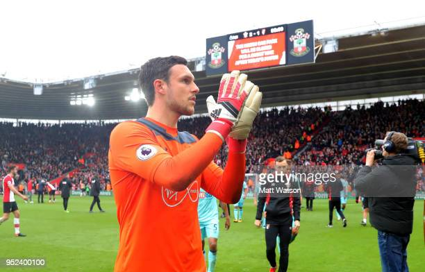 Alex McCarthy of Southampton during the Premier League match between Southampton and AFC Bournemouth at St Mary's Stadium on April 28 2018 in...