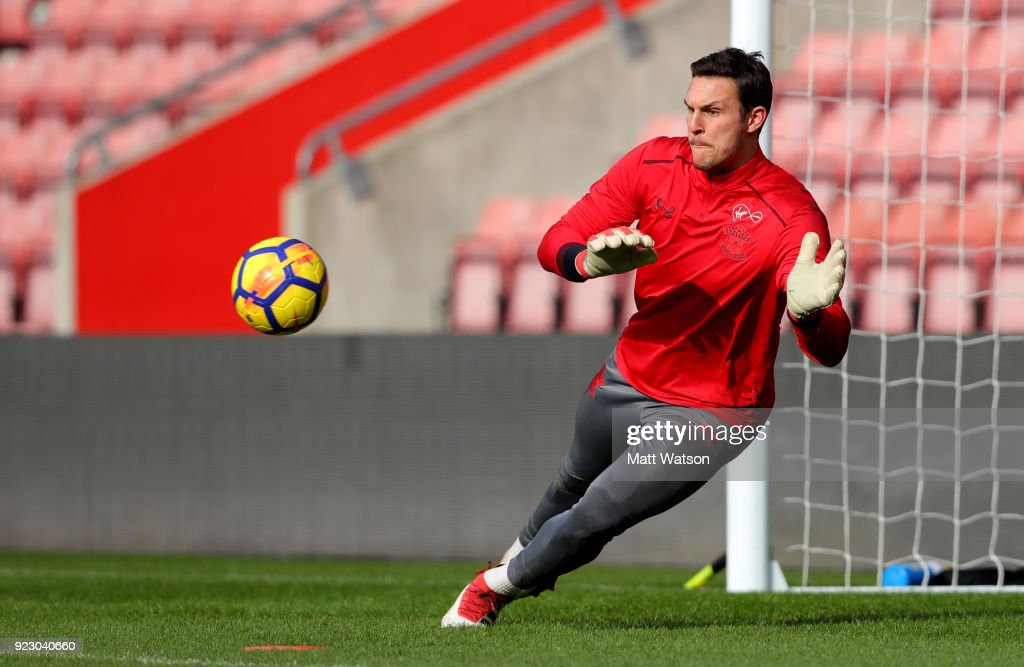Alex McCarthy of Southampton FC during a training session at St. Mary's Stadium on February 22, 2018 in Southampton, England.