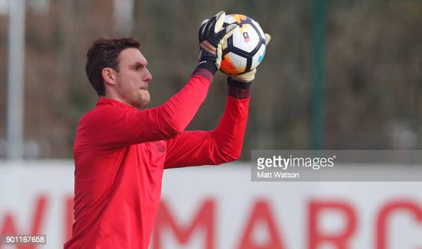 Alex McCarthy of Southampton FC during a training session at the Staplewood Campus on January 4 2018 in Southampton England