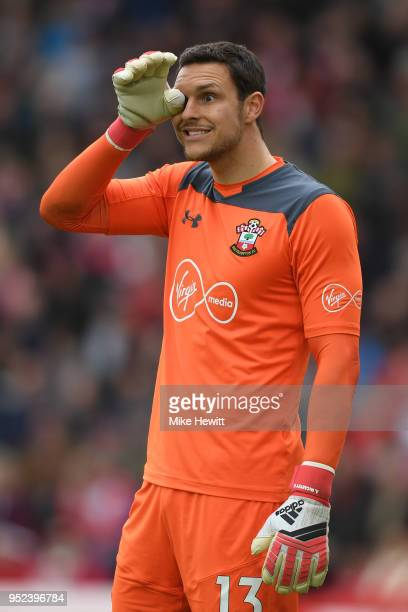 Alex McCarthy of Southampton looks on during the Premier League match between Southampton and AFC Bournemouth at St Mary's Stadium on April 28 2018...