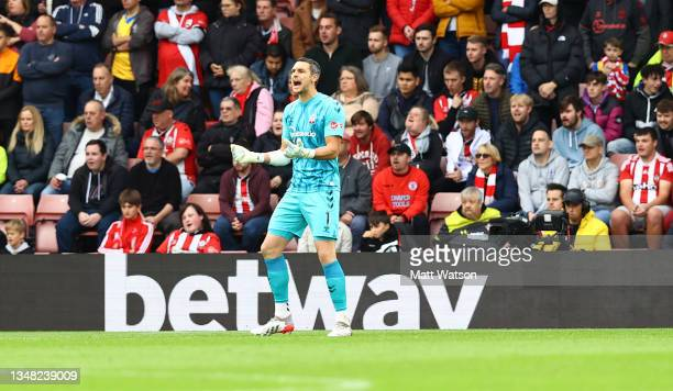 Alex McCarthy of Southampton reacts during the Premier League match between Southampton and Burnley at St Mary's Stadium on October 23, 2021 in...