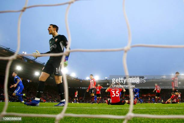 Alex McCarthy of Southampton reacts to Cardiff City scoring there second goal during the Premier League match between Southampton FC and Cardiff City...