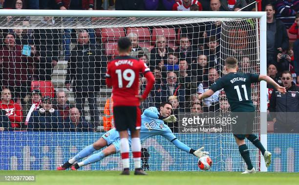 Alex McCarthy of Southampton saves a penalty shot from Matt Ritchie of Newcastle United during the Premier League match between Southampton FC and...