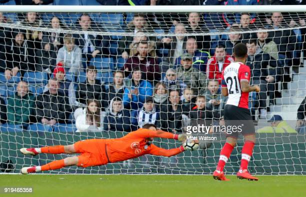 Alex McCarthy of Southampton saves during the Emirates FA Cup fifth round match between West Bromwich Albion and Southampton at The Hawthorns on...