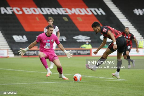 Alex McCarthy of Southampton saves from Dominic Solanke of Bournemouth during the Premier League match between AFC Bournemouth and Southampton FC at...