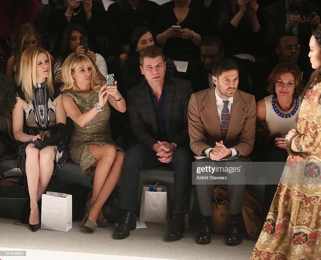 Alex McCord (L), Ramona Singer (2nd L), Tom Murro (C) and LuAnn De Lesseps (R) attend the Zang Toi Fall 2013 fashion show during Mercedes-Benz Fashion Week at The Stage at Lincoln Center on February 13, 2013 in New York City.