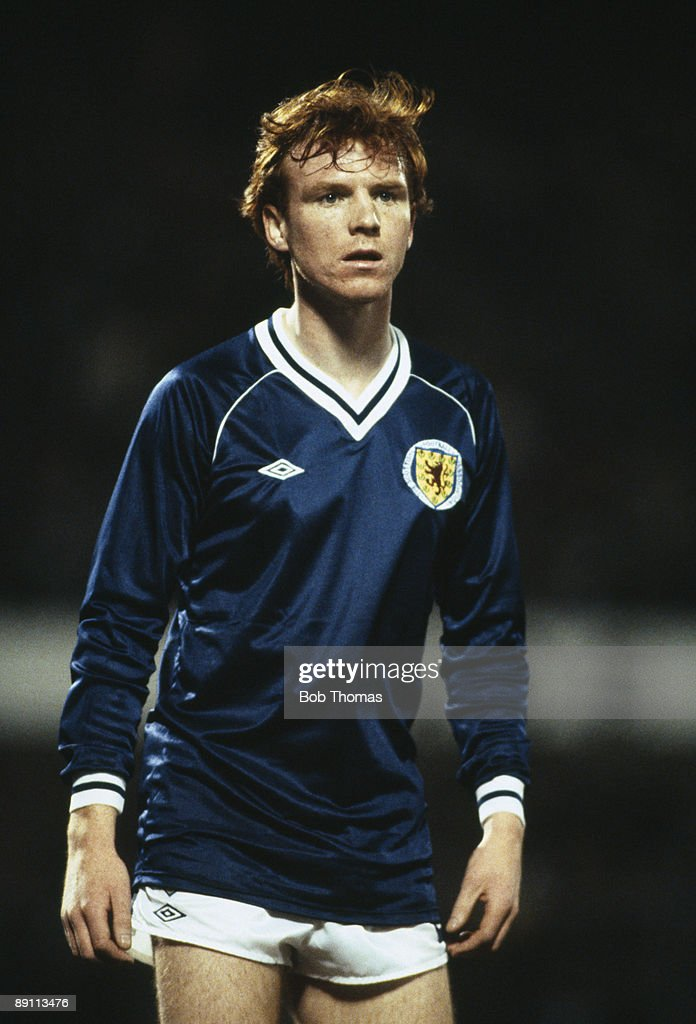 Alex McLeish in action for Scotland during their European Championship Qualifying match against Belgium at the Heysel Stadium in Brussels, 15th December 1982. Belgium won 3-2.