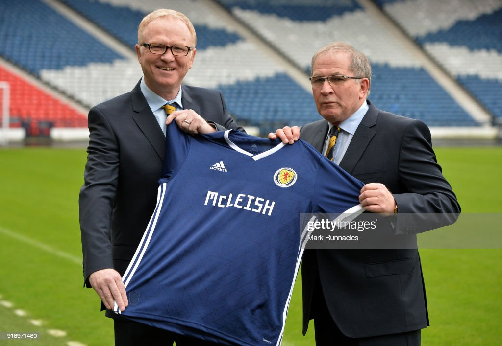 Alex McLeish (L), is unveiled by SFA President Alan McRae as the new Scotland National Team manager at Hampden Park on February 16, 2018 in Glasgow, Scotland.