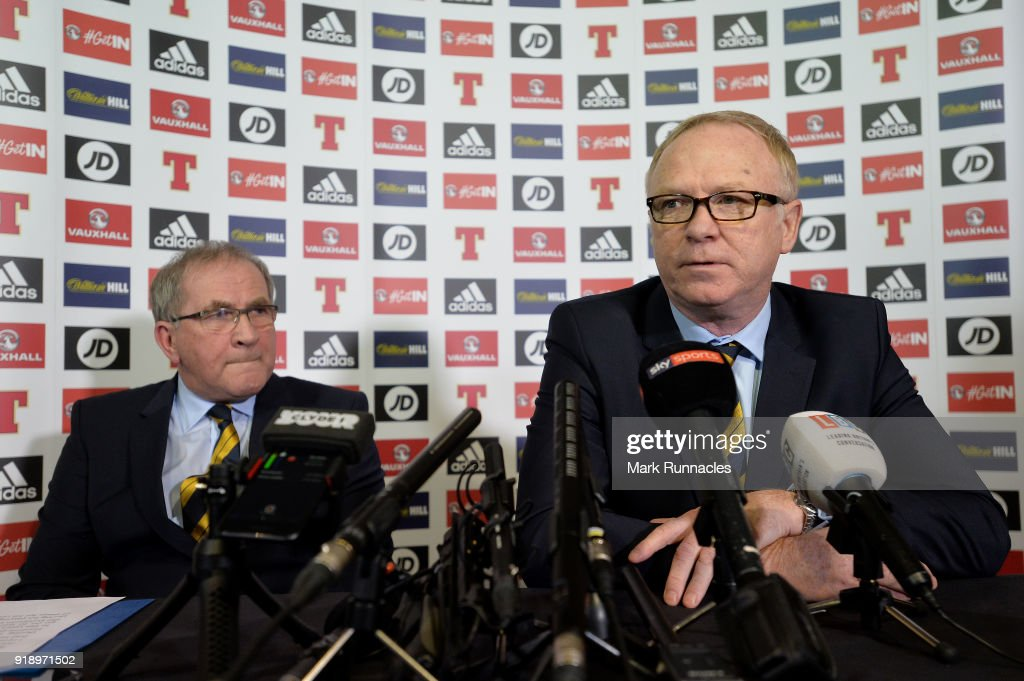 Alex McLeish (R), is unveiled by SFA President Alan McRae as the new Scotland National Team manager at Hampden Park on February 16, 2018 in Glasgow, Scotland.