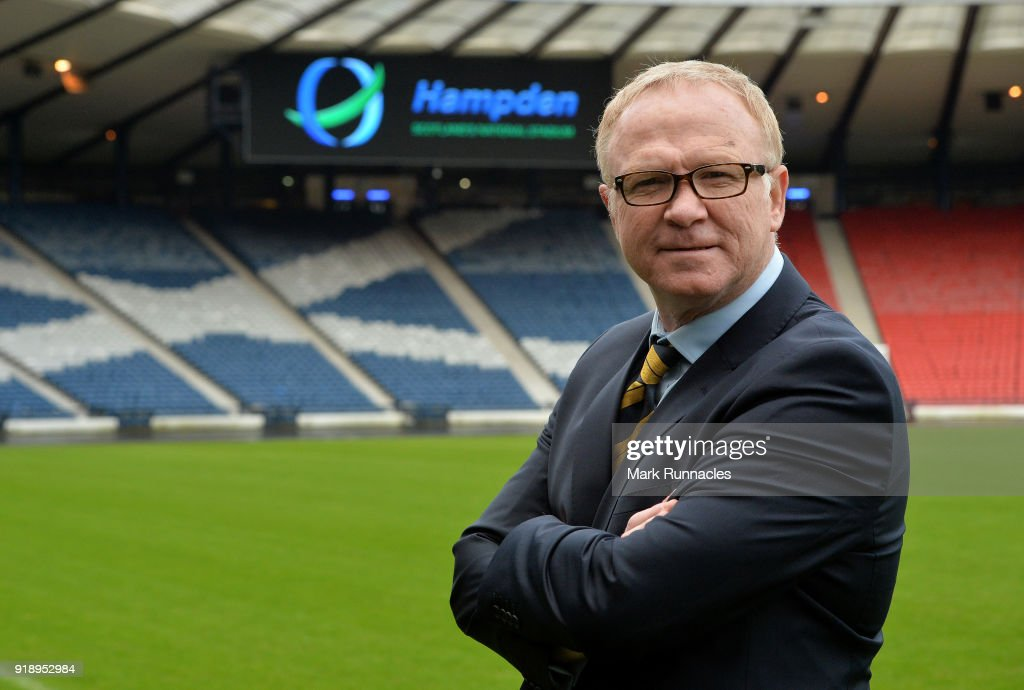 Alex McLeish is unveiled by the SFA as the new Scotland National Team manager at Hampden Park on February 16, 2018 in Glasgow, Scotland.