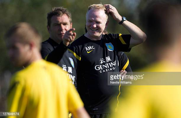 Alex McLeish manager of Aston Villa conducts an Aston Villa training session at the club's training ground at Bodymoor Heath on September 30 2011 in...