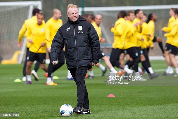 Alex McLeish manager of Aston Villa during a Aston Villa training session at the club's training ground at Bodymoor Heath on March 9 2012 in...