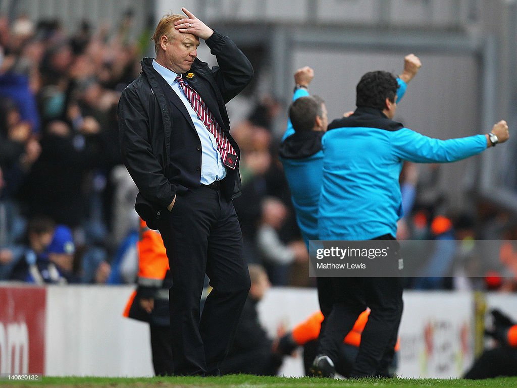 Alex McLeish, manager of Aston Villa looks on, after Blackburn Rovers score during the Barclays Premier League match between Blackburn Rovers and Aston Villa at Ewood park on March 3, 2012 in Blackburn, England.