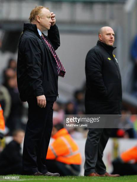 Alex McLeish manager of Aston Villa looks on during the Barclays Premier League match between Blackburn Rovers and Aston Villa at Ewood park on March...