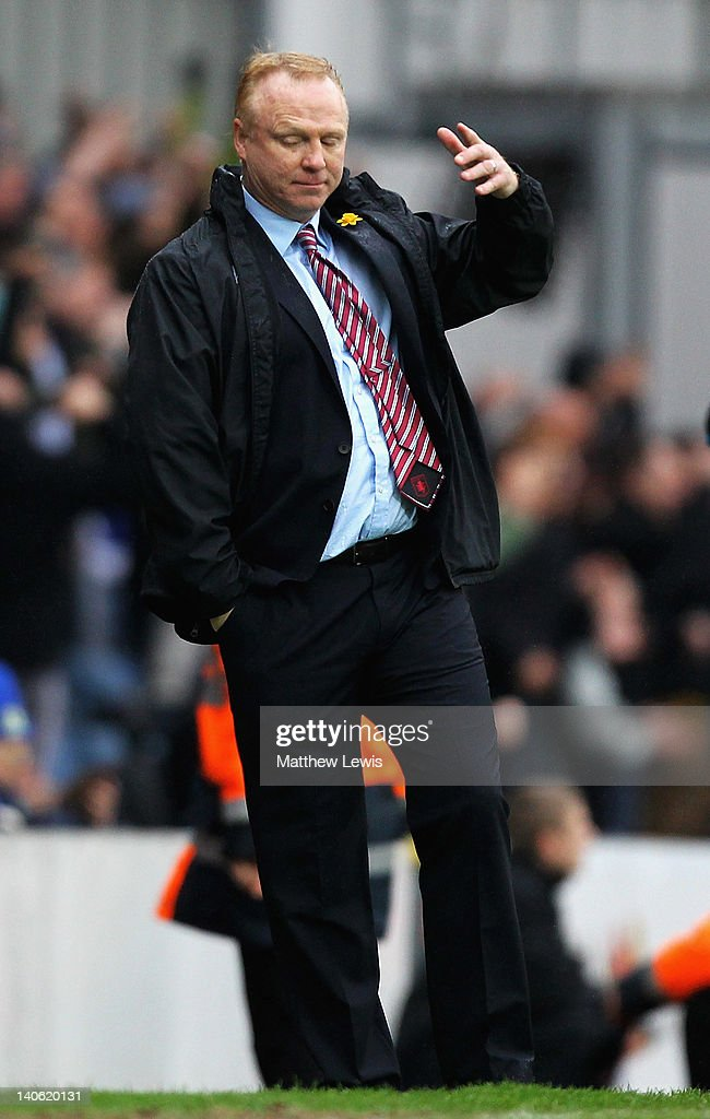 Alex McLeish, manager of Aston Villa looks on during the Barclays Premier League match between Blackburn Rovers and Aston Villa at Ewood park on March 3, 2012 in Blackburn, England.