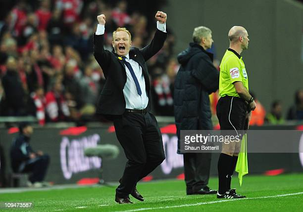 Alex McLeish Manager of Birmingham City celebrates victory during the Carling Cup Final between Arsenal and Birmingham City at Wembley Stadium on...