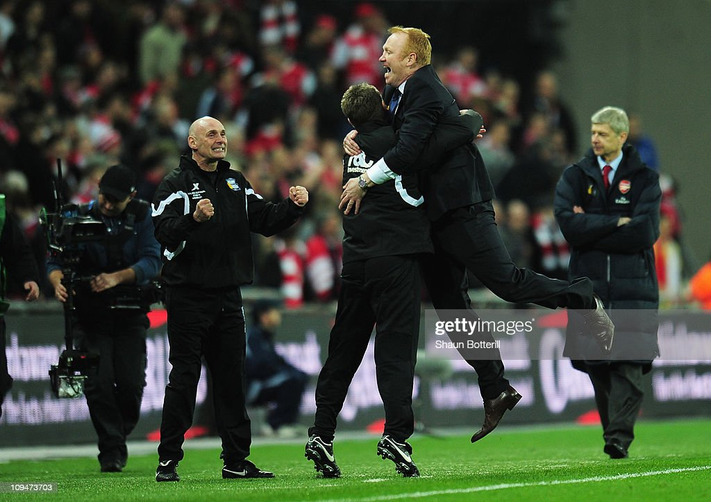 Alex McLeish, Manager of Birmingham City celebrates victory during the Carling Cup Final between Arsenal and Birmingham City at Wembley Stadium on February 27, 2011 in London, England.