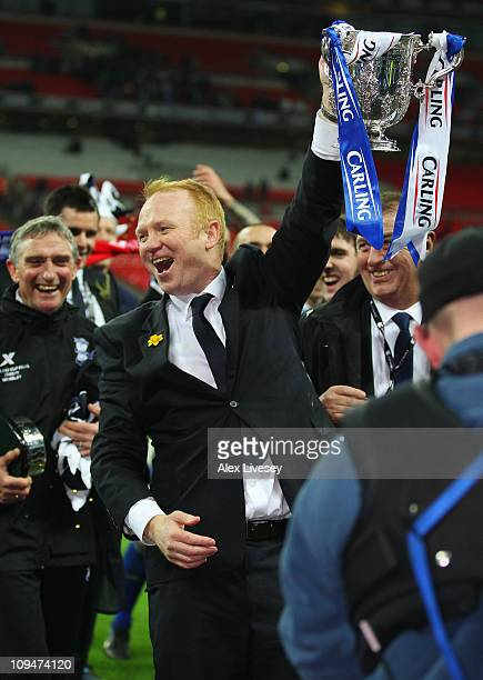 Alex McLeish Manager of Birmingham City celebrates with the trophy after the Carling Cup Final between Arsenal and Birmingham City at Wembley Stadium...