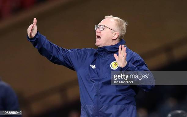 Alex McLeish Manager of Scotland gives his team instructions during the UEFA Nations League C group one match between Scotland and Israel at Hampden...