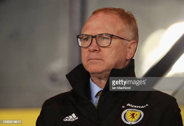 Alex McLeish Manager of Scotland looks on prior to the UEFA Nations League C Group One match between Scotland and Albania at Hampden Park on...
