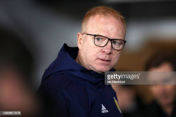 Alex McLeish Manager of Scotland looks on prior to the UEFA Nations League C group one match between Scotland and Israel at Hampden Park on November...