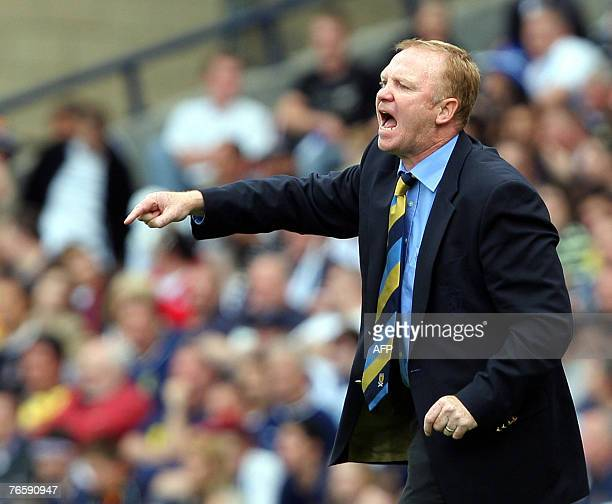 Alex McLeish manager of Scotland shouts during the Euro 2008 Championship Qualifying Group B football match against Lithuania at Hampden Park Glasgow...