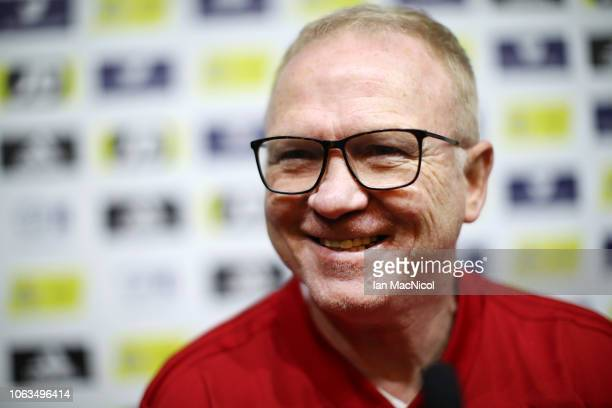 Alex McLeish Manager of Scotland speaks to the media during a Scotland press conference at Hampden Park on November 19 2018 in Glasgow Scotland