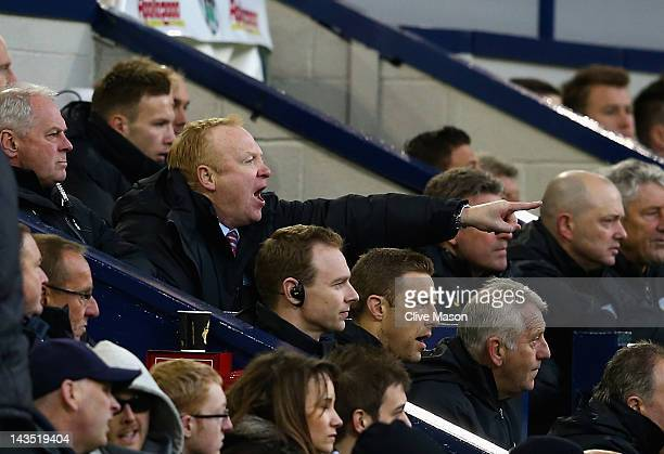 Alex McLeish of Aston Villa gesticulating during the Barclays Premier League match between West Bromwich Albion and Aston Villa at The Hawthorns on...