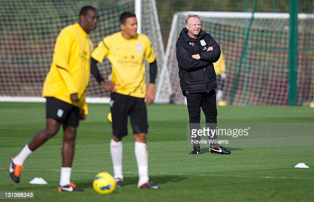Alex Mcleish of Aston Villa in action during a Aston Villa training session at the club's training ground at Bodymoor Heath on November 04 2011 in...