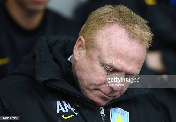 Alex McLeish of Aston Villa is seen before kick off during the Barclays Premier League match between West Bromwich Albion and Aston Villa at The...