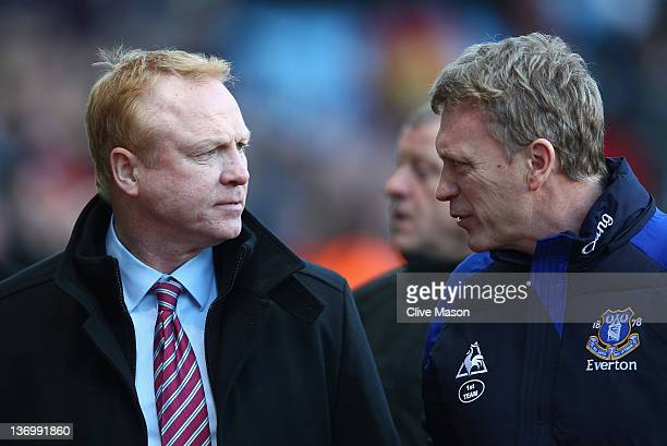 Alex McLeish of Aston Villa with David Moyes of Everton befor the Barclays Premier League match between Aston Villa and Everton at Villa Park on...
