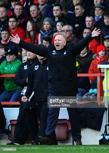 Alex McLeish of Nottingham Forest gives out instructions during the FA Cup with Budweiser Third Round match Nottingham Forest and Oldham Athletic at...